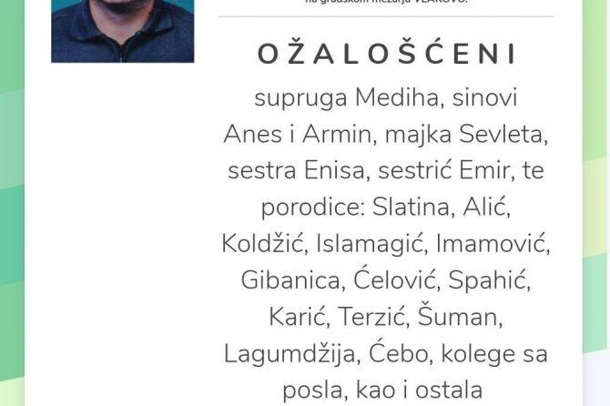 Dženaza našem dragom Prim.doc.dr.sci.med Enesu Slatini obavit će se u ČETVRTAK, 26.11.2020. godine u 10:00 sati na gradskom mezarju VLAKOVO