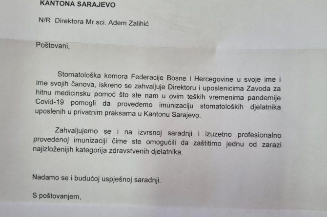 Bila nam je čast i zadovoljstvo biti na usluzi našim kolegama i provesti imunizaciju za članove Stomatološke komore Federacije BiH koji rade u privatnoj praksi na Kantonu Sarajevo.